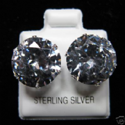 12mm Round Clear Cubic Zirconia Silver Stud Earrings